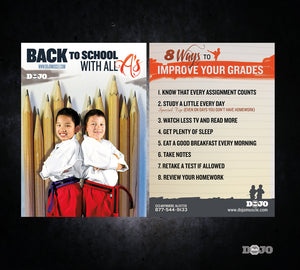 Back to School Ad Cards - All A's - Dojo Muscle