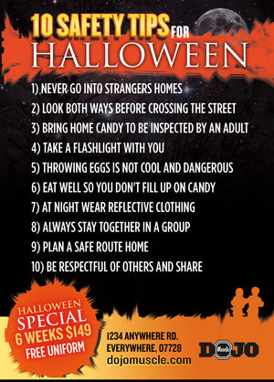 Kick or Treat Safety Tips Halloween Card 2b - Dojo Muscle