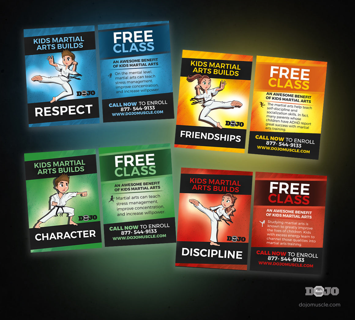 Set of 4 cards about martial arts beliefs
