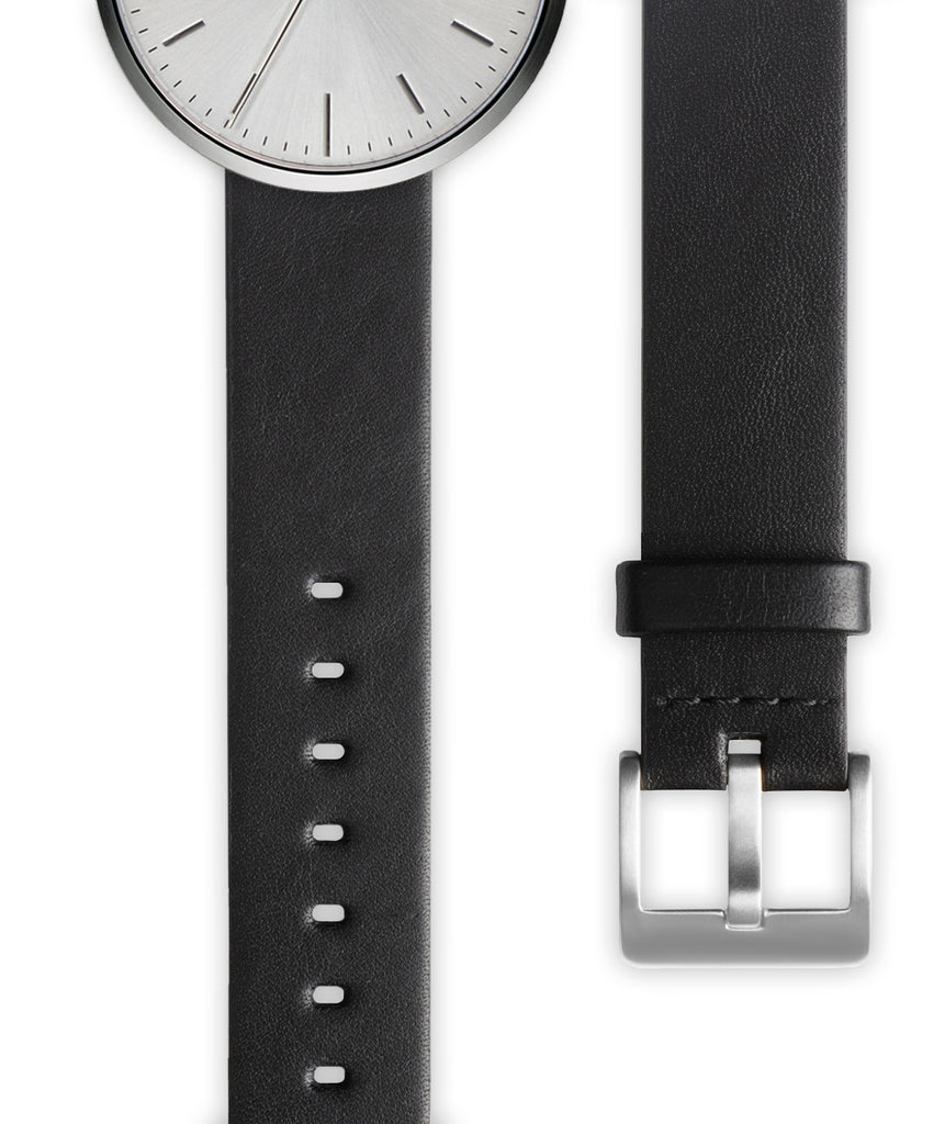 Black nappa calf leather watch strap