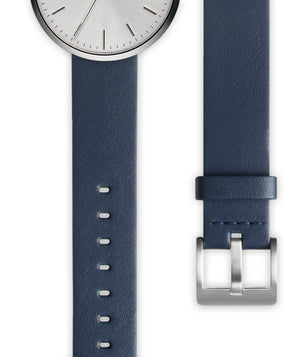 Blue nappa calf leather watch strap