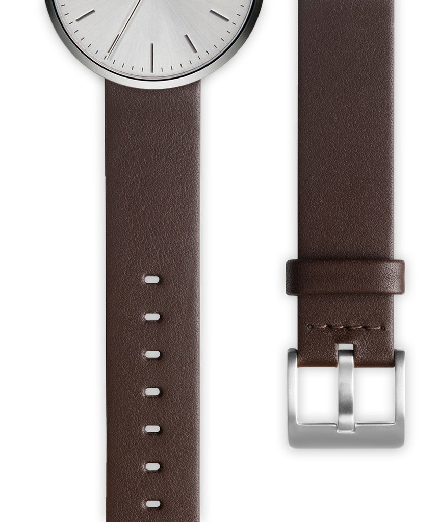Brown nappa calf leather watch strap