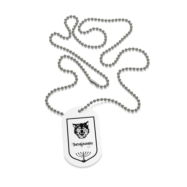Benjamin, Tribes of Israel, Beaded Aluminum Tag with Chain-Accessories, Home & Living, Jewelry, Pets, Silver-Etsy-TrumpVaderStore-TheWorlddiscountstore