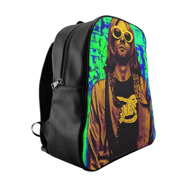 Nirvana Green PU leather School Backpack-Accessories, All Over Print, Backpacks, Bags-Etsy-TrumpVaderStore-TheWorlddiscountstore