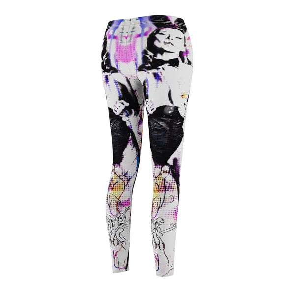 Kate Moss Bunny Women's Cut & Sew Casual Leggings-All Over Print, AOP Clothing, Pants, Sportswear, Women's Clothing-Etsy-TrumpVaderStore-TheWorlddiscountstore