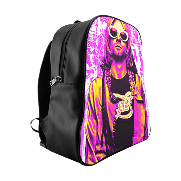 Nirvana Pink PU leather School Backpack-Accessories, All Over Print, Backpacks, Bags-Etsy-TrumpVaderStore-TheWorlddiscountstore