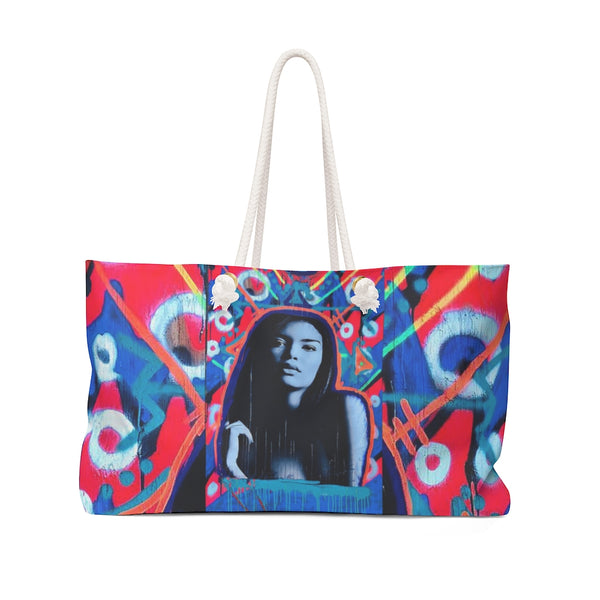 Blue Super Model Graffiti Weekender Bag