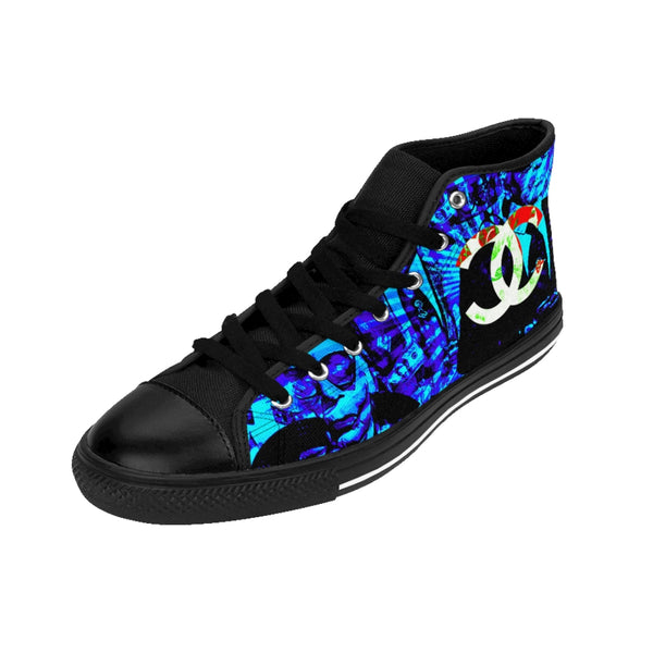 Fashion Karl Lagerfeld Like Chanel Inspired Blue Women's High-top Sneakers Patriot Day Sale!-All Over Print, Shoes, Women's Clothing-Etsy-TrumpVaderStore-TheWorlddiscountstore