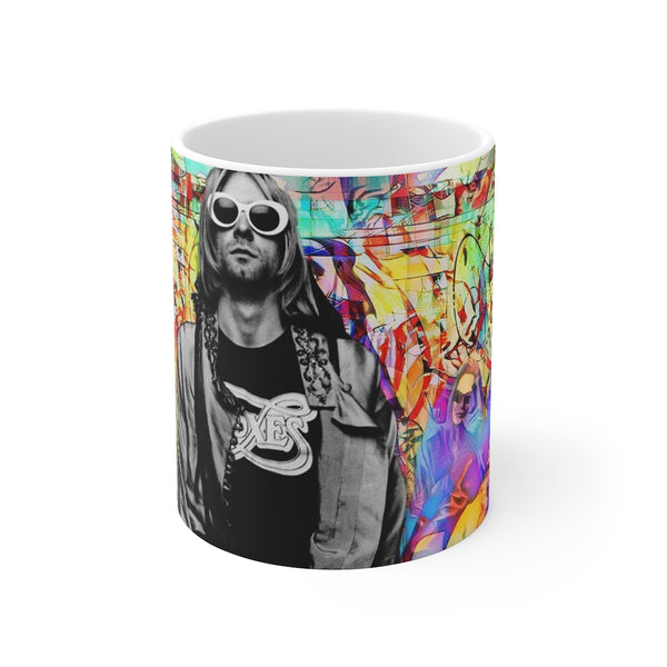 Nirvana Kurt Cobain White Ceramic 11oz Mug-Home & Living, Mugs, Sublimation, White base-Etsy-TrumpVaderStore-TheWorlddiscountstore