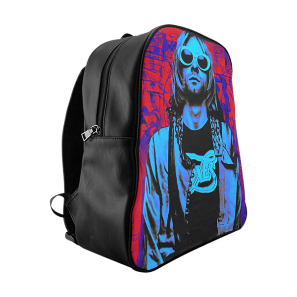 Nirvana Blue PU leather School Backpack-Accessories, All Over Print, Backpacks, Bags-Etsy-TrumpVaderStore-TheWorlddiscountstore