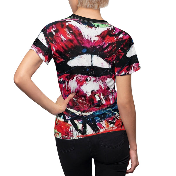 Women's Graffiti Hot Lips Full Print T-Shirt-All Over Prints-worlddiscountstore