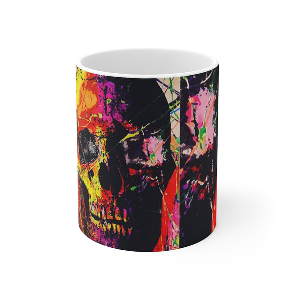 Skull Graffiti White Ceramic 11oz Mug-Home & Living, Mugs, Sublimation, White base-Etsy-TrumpVaderStore-TheWorlddiscountstore