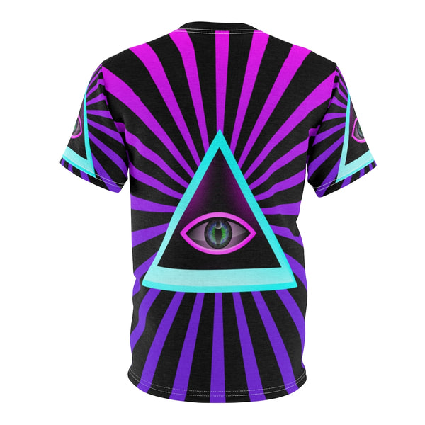 Illuminati All seeing Eye triangle Purple AOP Cut & Sew Tee-All Over Print, AOP Clothing, Crew neck, Men's Clothing, T-shirts, Unisex, Women's Clothing-Etsy-TrumpVaderStore-TheWorlddiscountstore
