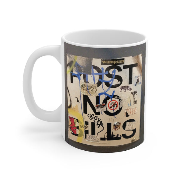 Coffee Mug Post No Bills Graffitti-Home & Living, Mugs, Sublimation, White base-Etsy-TrumpVaderStore-TheWorlddiscountstore