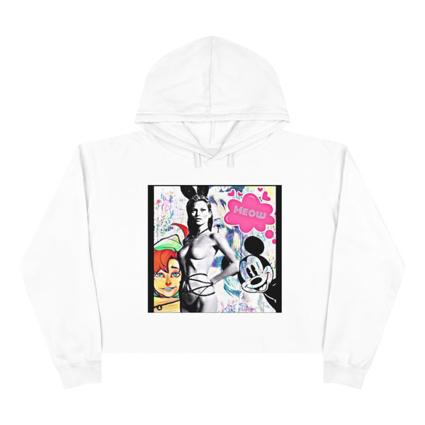 Kate Moss Bunny Graffiti Crop Hoodie, Relaxed fit, Cotton, Polyester, Raw bottom