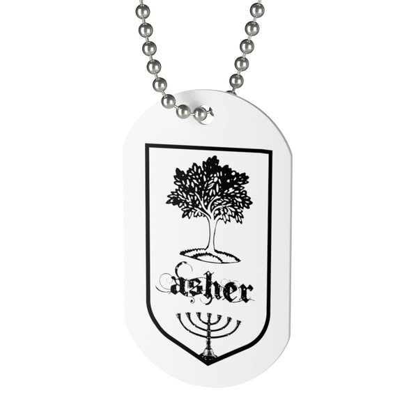 Asher, Tribes of Israel, Beaded Aluminum Tag with Chain-Accessories, Home & Living, Jewelry, Pets, Silver-Etsy-TrumpVaderStore-TheWorlddiscountstore