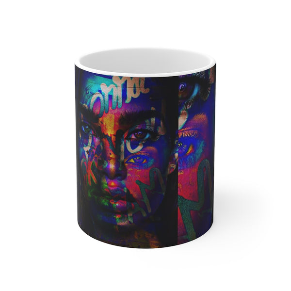 Black Neon Girl Graffiti White Ceramic 11oz Mug-Home & Living, Mugs, Sublimation, White base-Etsy-TrumpVaderStore-TheWorlddiscountstore