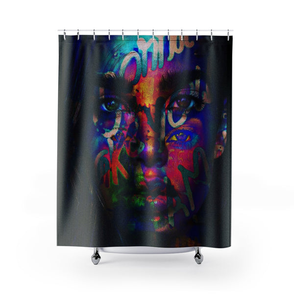 Shower Curtain Neon Girl Face-All Over Print, Bathroom, Home & Living-Etsy-TrumpVaderStore-TheWorlddiscountstore