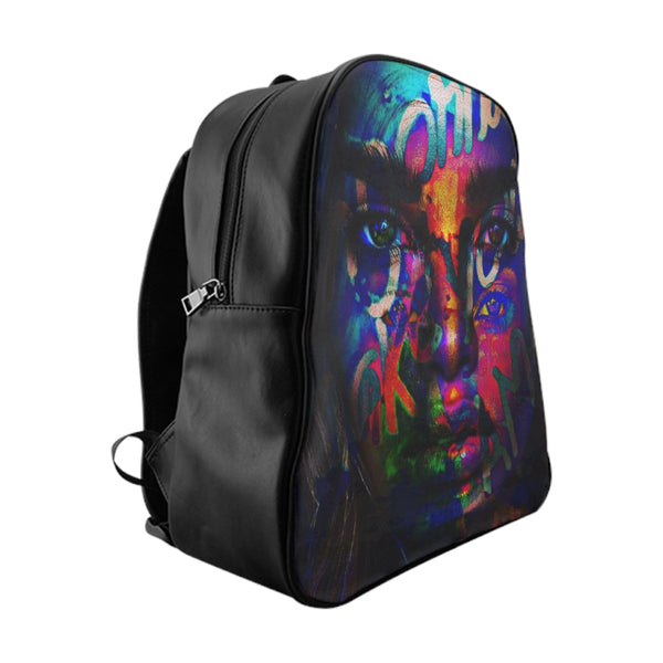 Neon Face Graffiti PU leather School Backpack-Accessories, All Over Print, Backpacks, Bags-Etsy-TrumpVaderStore-TheWorlddiscountstore