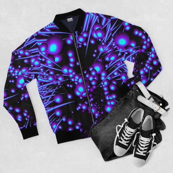 Blood Spines Bomber Jacket Purple Unisex Polyester