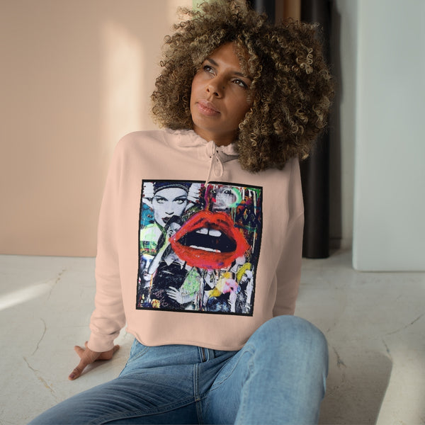 Red Lips Graffiti Crop Hoodie Trendy Cotton Polyester