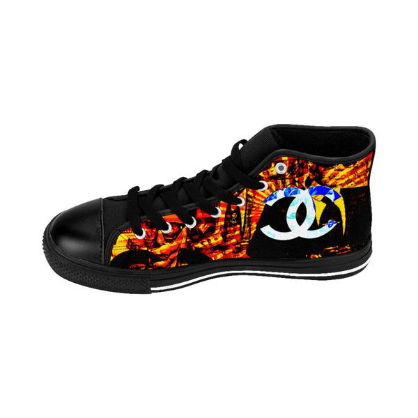 Fashion Karl Lagerfeld Like Chanel Inspired Orange Women's High-top Sneakers Patriot Day Sale!-All Over Print, Shoes, Women's Clothing-Etsy-TrumpVaderStore-TheWorlddiscountstore