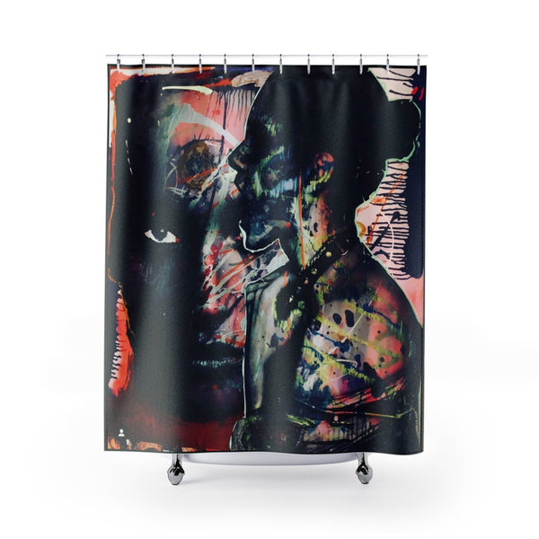 Shower Curtain Two Faces Black-All Over Print, Bathroom, Home & Living-Etsy-TrumpVaderStore-TheWorlddiscountstore