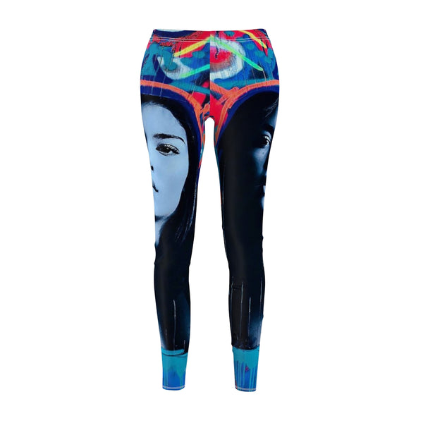 Blue Face Women's Cut & Sew Casual Leggings-All Over Print, AOP Clothing, Pants, Sportswear, Women's Clothing-Etsy-TrumpVaderStore-TheWorlddiscountstore