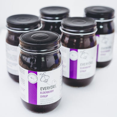 "Bulk of our Everyday Elderberry made with 100% Organic Ingredients - our popular ""Purple Jar"" Organic Elderberry Syrup"