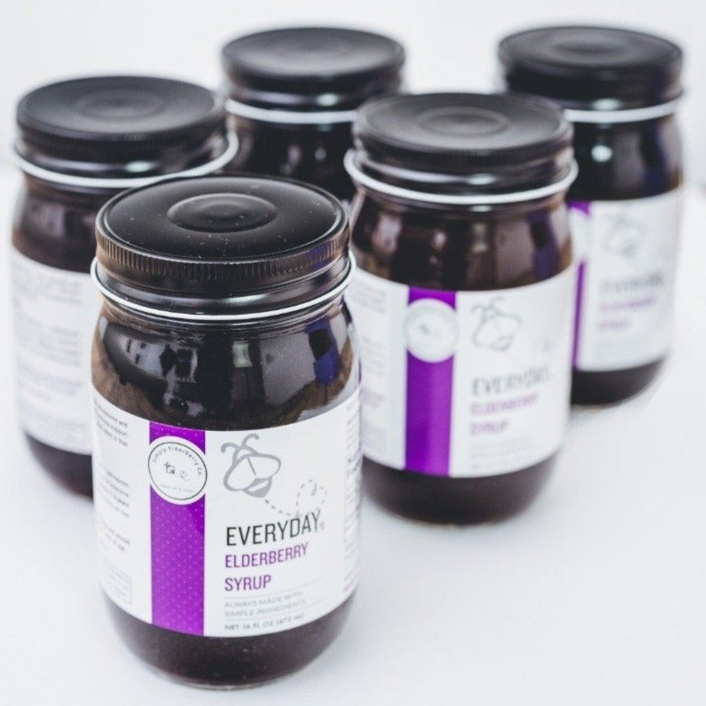 """Stock Up on Purple"" bundle - 1 Pour Spout and 5 Jars of our popular Everyday Elderberry made with 100% Organic Ingredients"