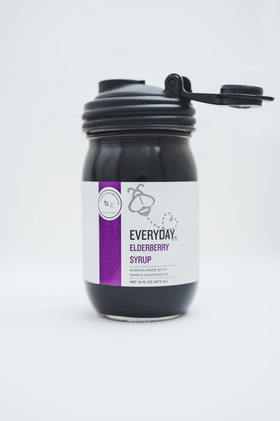 Everyday® Elderberry Syrup - 100% Organic Ingredients (16oz) PLUS Mason Jar Pour Spout -