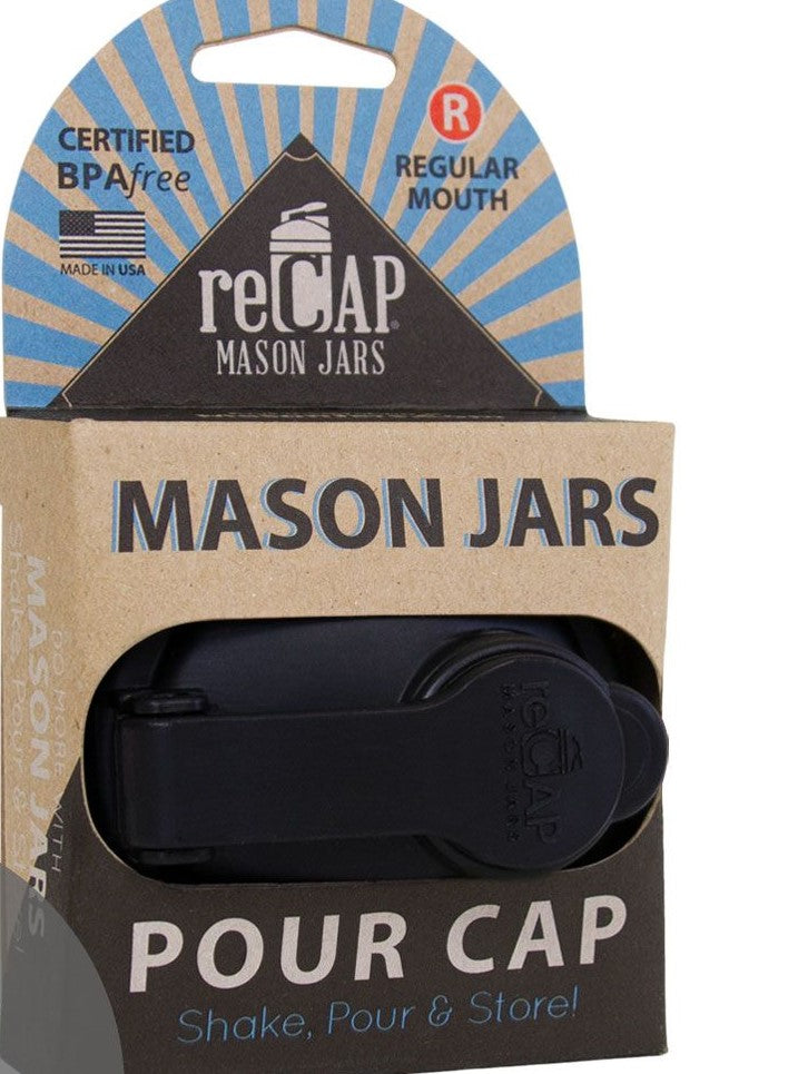 Genuine ReCap Mason Jar Lid POUR Cap, Regular Mouth (Silver)
