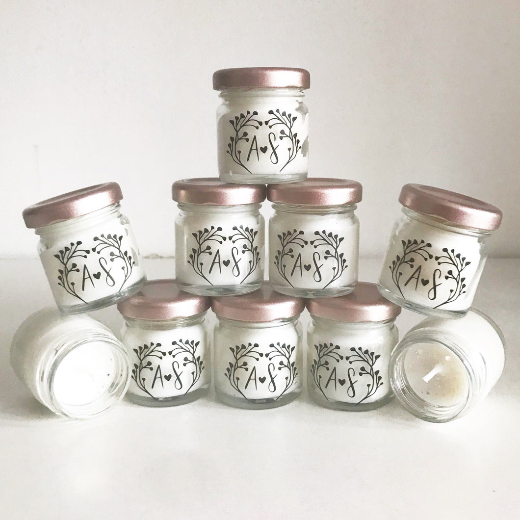 Wedding Favour Candles - Personalised Candles - Party Favour Candles - Small Jar Candle - 8 Hour Burn Time - Hamper Gift - The Wax House UK