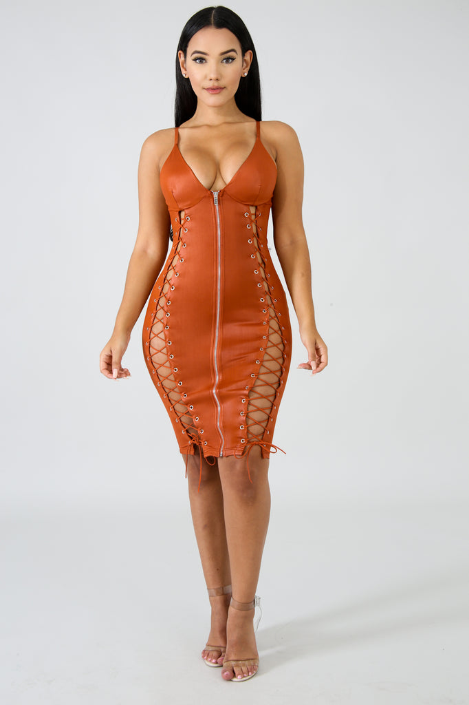 57d20bdc9a Faux Leather Corset Body-Con Dress - Rust – Zele Fashions