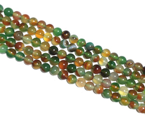 Peacock Green Chalcedony Round Beads 6mm