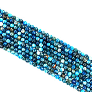 Blue White Mixed Apatite Round Beads 4mm