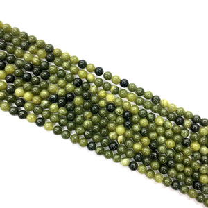 Canadian Green Jade Round Beads 6mm