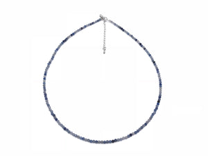 Aventurine Blue Super Precision Cut Rounds 2mm Necklace