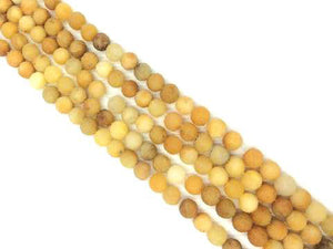 Matte Yellow Jade Round Beads 6Mm