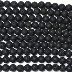 Lava Stone Black Round Beads 6Mm