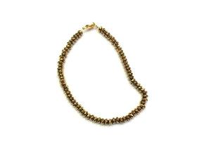 Hematite Gold Faceted Roundel Bracelet 2X3Mm