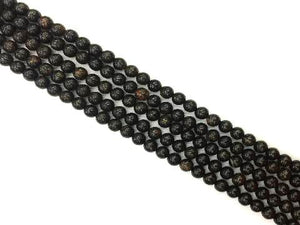Golden Black Obsidian Round Beads 4Mm