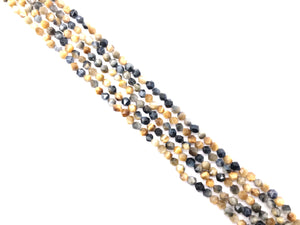 Yellow Blue Tiger Eye Star Cut 6mm