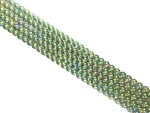 Glass Ab Green Round Beads 10Mm