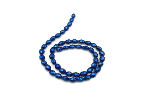 Hematite Coated Blue Faceted Rice 3X5Mm