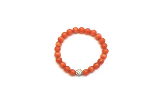 Artificial Opal Orangered Metal Guajian Bracelet 8Mm