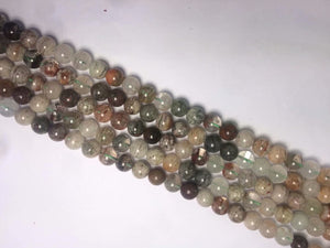 Green Phantom Quartz Round Beads	8mm