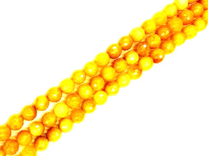 Old Yellow Jade Faceted Rounds 4Mm