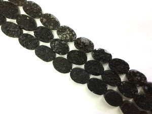 8 Inch Coated Agate Druzy Black Flat Oval 12X16Mm