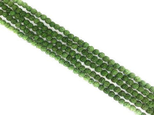 Lava Stone Ab Green Round Beads 6Mm